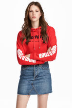 Cropped hooded top - Red/Justin Bieber - Ladies | H&M CN 1