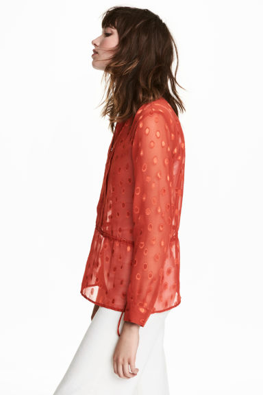 Patterned chiffon blouse - Rust red - Ladies | H&M CN 1
