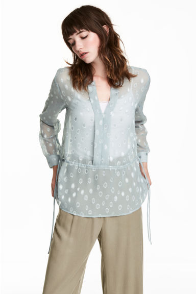 Patterned chiffon blouse - Light blue-grey - Ladies | H&M CN 1