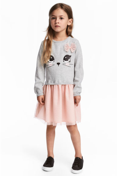 Fine-knit dress - Light grey/Cat -  | H&M 1