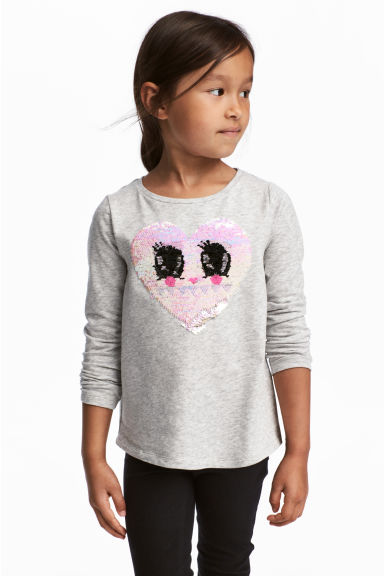 Jersey top with a motif - Light grey marl/Heart - Kids | H&M