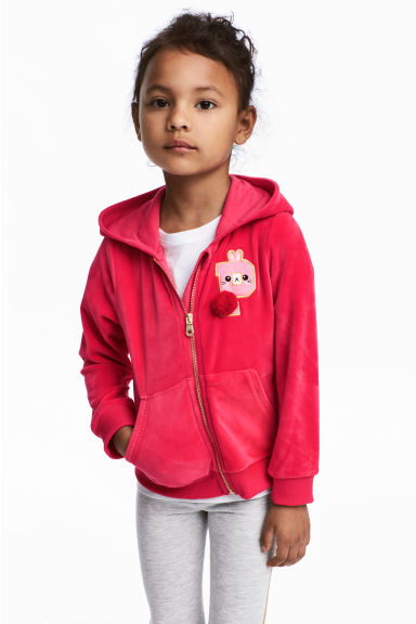 Hooded velour jacket - Raspberry pink -  | H&M 1