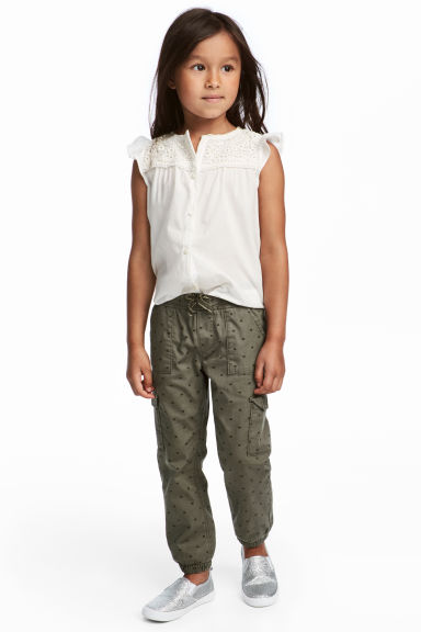 Pull-on trousers - Khaki green/Hearts - Kids | H&M
