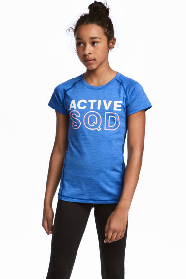 Short-sleeved sports top - Bright blue - Kids | H&M CN 1