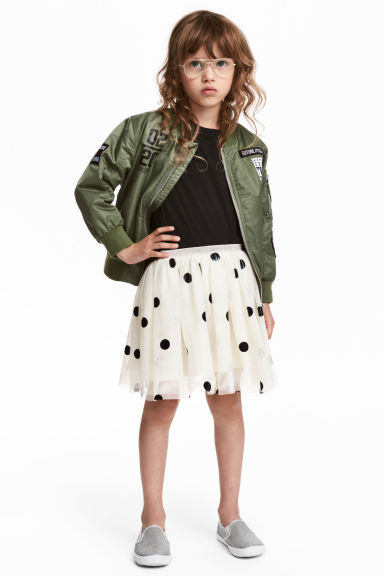Tulle skirt - White/Spotted - Kids | H&M CN 1