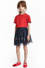Tulle skirt with sequins - Dark blue/Cherry -  | H&M CN 1