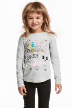 Jersey top with a print motif - Gray melange - Kids | H&M CA 1