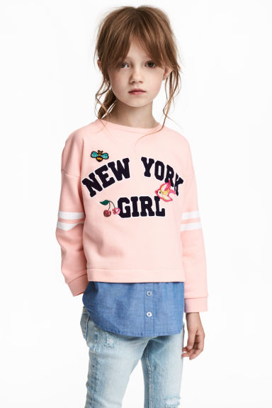 Double-layered sweatshirt - Light pink - Kids | H&M 1
