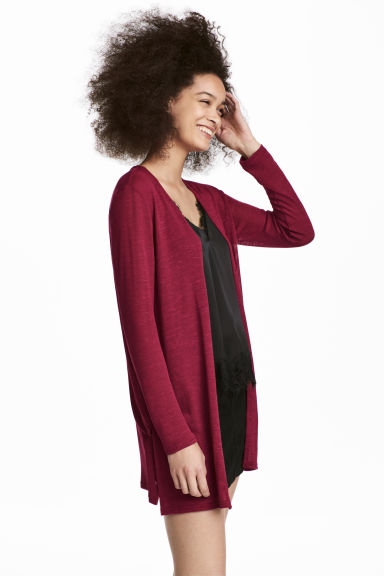 Fine-knit cardigan - Dark red - Ladies | H&M