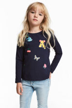 Jersey Top - Dark blue - Kids | H&M CA 1