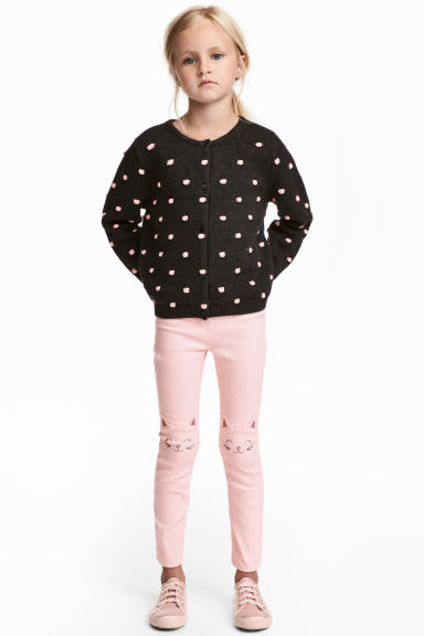 Treggings with embroidery - Light pink/Cat - Kids | H&M 1