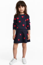 Skirt with hearts - Dark blue/Hearts - Kids | H&M CN 1