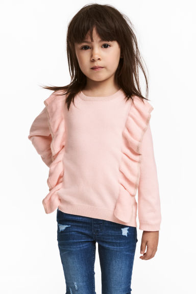 Fine-knit frilled jumper - Light pink/Glittery - Kids | H&M