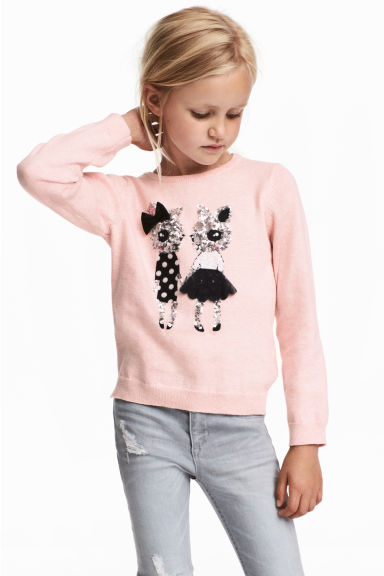 Sequined jumper - Light pink -  | H&M CN 1