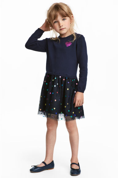 Fine-knit dress - Dark blue/Hearts - Kids | H&M CN 1