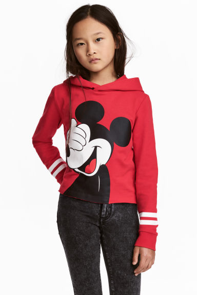 Cropped hooded top - Red/Mickey Mouse - Kids | H&M 1
