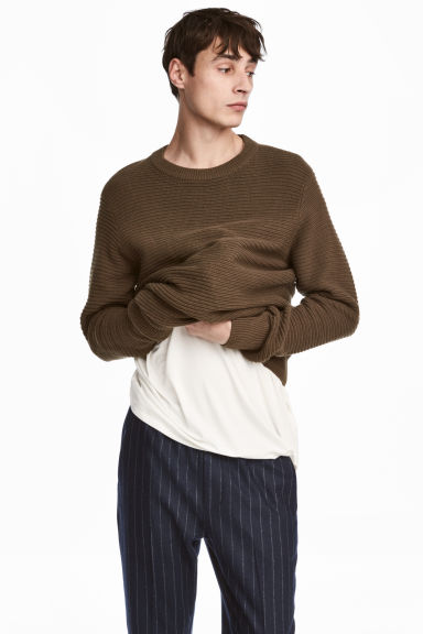 Rib-knit Cotton Sweater - Khaki green - Men | H&M CA 1