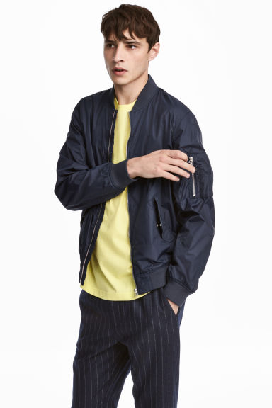 Nylon bomber jacket - Dark blue - Men | H&M 1