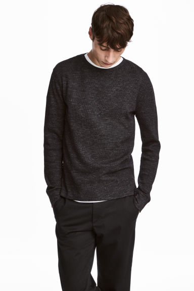 Waffled top - Dark gray melange - Men | H&M 1