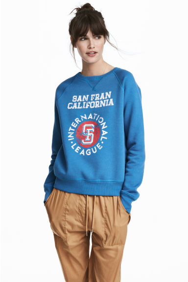 Sweatshirt with Printed Design - Blue - Ladies | H&M CA