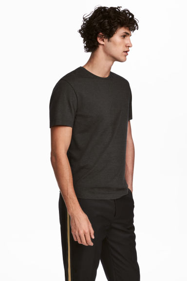 Round-necked T-shirt Slim fit - Dark grey - Men | H&M 1