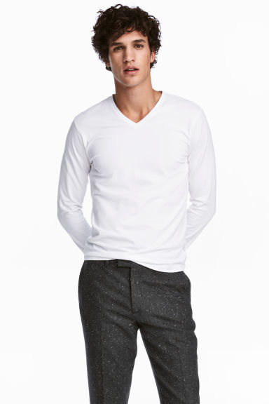 Long-sleeved T-shirt Slim fit - White - Men | H&M 1