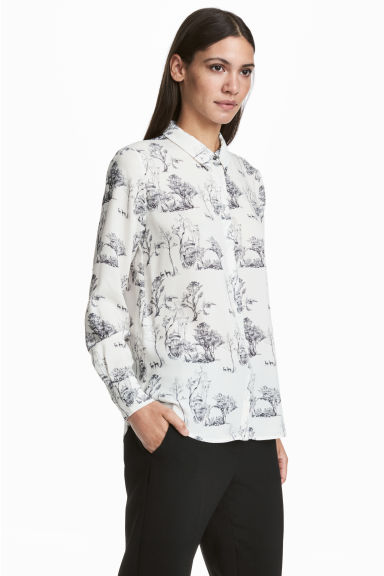 Long-sleeved Blouse - White/patterned - Ladies | H&M CA 1