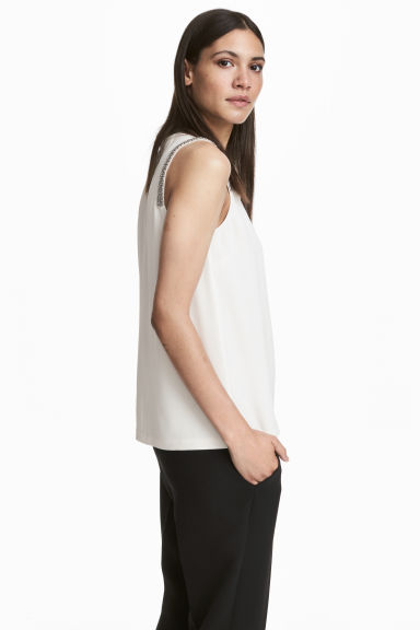 Crêpe top - White - Ladies | H&M IE