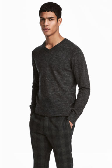 V-neck Cotton Sweater - Black melange -  | H&M CA 1