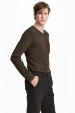 V-neck Cotton Sweater - Khaki green -  | H&M CA 1