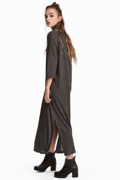 Calf-length T-shirt dress - Dark grey -  | H&M