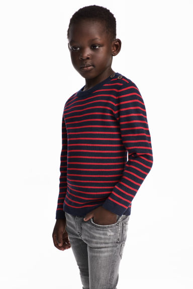 Fine-knit cotton jumper - Red/Blue striped - Kids | H&M 1