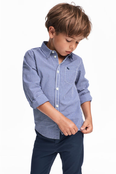 Cotton shirt - Blue/White checked - Kids | H&M 1