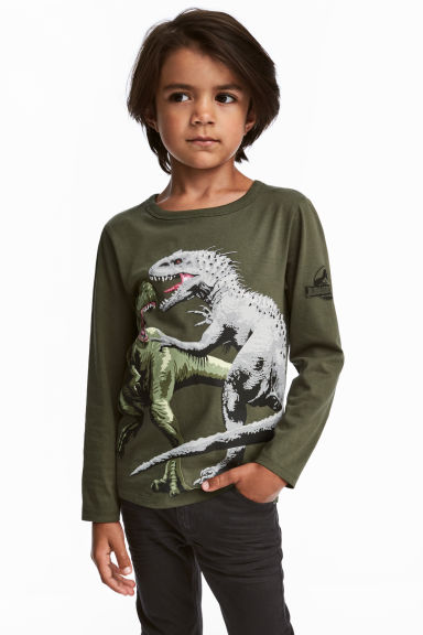 2-pack Jersey Tops - Khaki green/Jurassic World - Kids | H&M CA 1