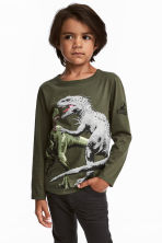 2件入平紋上衣 - Khaki green/Jurassic World - Kids | H&M 1