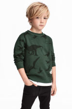 圖案運動衫 - Dark green/Jurassic World - Kids | H&M 1