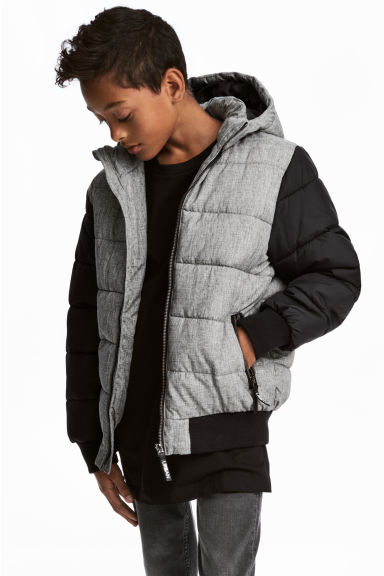 Padded jacket with a hood - Dark grey marl - Kids | H&M