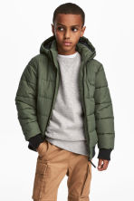 Padded Jacket with Hood - Khaki green - Kids | H&M CA 1