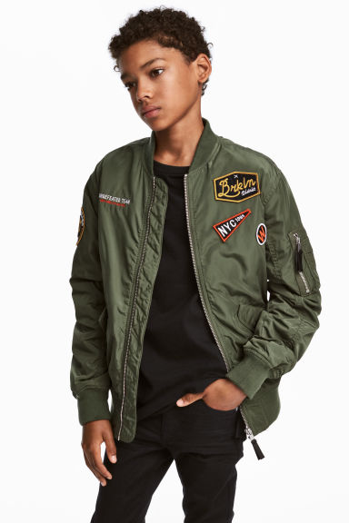 Bomber jacket with appliqués - Khaki green - Kids | H&M CN 1