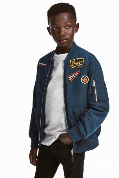 Bomber jacket with appliqués - Dark blue - Kids | H&M 1