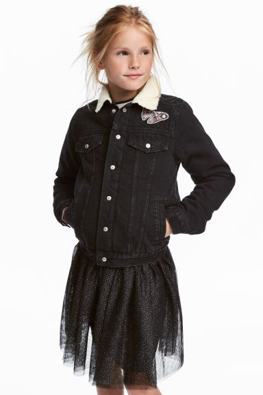 Pile-lined denim jacket - Black - Kids | H&M CN 1