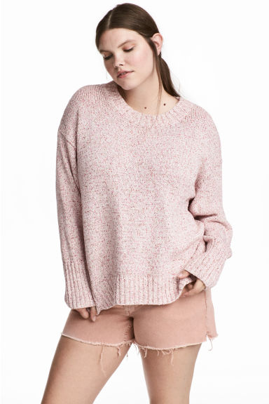 H&M+ Knitted jumper - Light pink marl/Glittery - Ladies | H&M 1