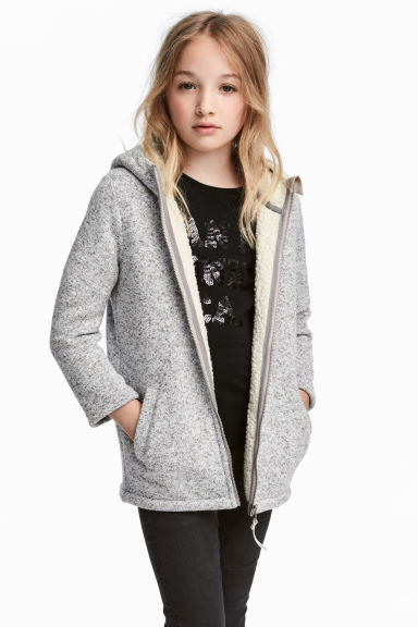 Pile-lined hooded jacket - Light grey marl - Kids | H&M CN