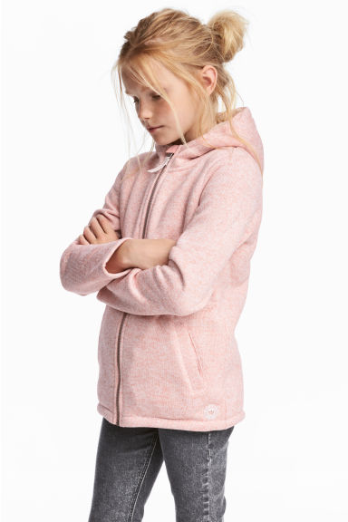 Pile-lined hooded jacket - Light pink marl - Kids | H&M 1
