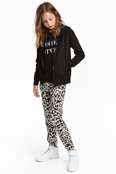 Fleece Joggers - White/leopard print - Kids | H&M CA