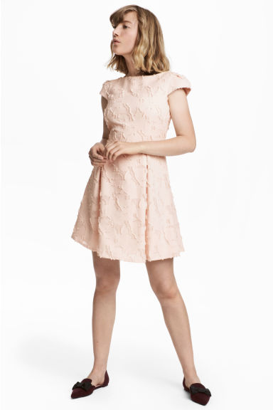 Jacquard-patterned dress - Powder pink - Ladies | H&M CN 1
