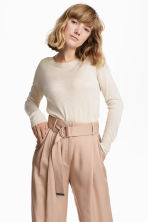 Fine-knit jumper - Light beige marl - Ladies | H&M 1