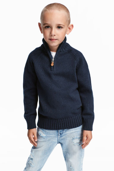Knitted jumper with a zip - Dark blue -  | H&M 1