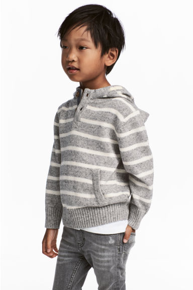 Knitted hooded jumper - Light grey/Striped -  | H&M 1