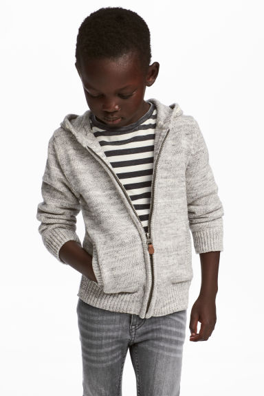 Knitted hooded jacket - Light grey marl -  | H&M 1